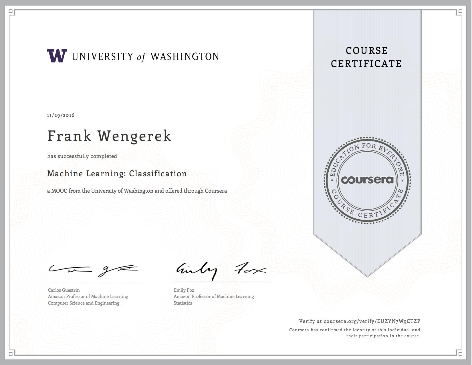 Zertifikat der University of Washington für einen Machine Learning Kurs - wengerekConsulting